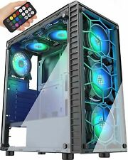 MUSETEX Phantom Black ATX Mid-Tower Case with USB 3.0 and 6 ×120mm ARGB Fans, Te