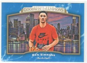 Rare BEN SIMMONS 2017 Upper Deck Goodwin Champions Royal Blue Rookie Card RC #76