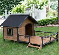 Large Dog House With Porch Kennel Safe Wooden Outdoors Weatherproof Pet Deck Fir