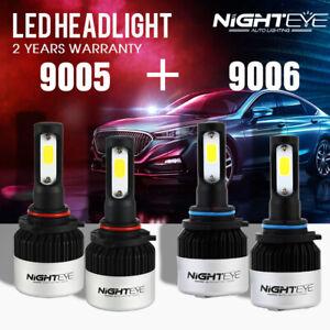 NIGHTEYE 9005(HB3) + 9006(HB4) LED Headlight Kit Light Bulbs Hi/Low Beam 9000LM