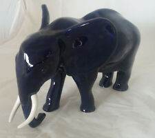 Afrika Elefant blau aus Keramik - Handarbeit - Dekoration Deko Tisch Haus Garten