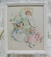 sweet chic antique * 1897 maud humphrey book plate * tea & gossip * framed