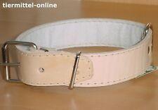 Halsband a. echtem Leder gepolstert 80cm / 40mm beige