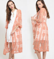 Coral Embroidered Sheer Lace Long Midi Kimono Open Front Wrap Cardigan Top