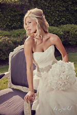 Vera Wang Crystal Wedding Sash Belt 'Chelsea' Ivory