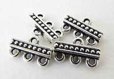 Antiqued Silver Ox Beaded 3 to 1 Connector Bar Link TierraCast Multi Strand
