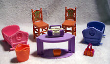 Mattel Dollhouse Furniture Lot Brown Chairs, Grape TV Stand, 2 Cradles & More!