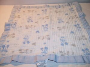 SECURITY BLANKET DISNEY CROWN CRAFTS Lovey MICKEY MOUSE Muslin Silky Trim - VGC