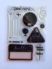 STAMPIN UP Wanderlust Travel Post Card 12 CLEAR RUBBER STAMPS PHOTOPOLYMER