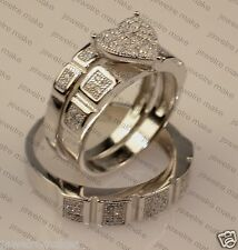 His Her Mens and Woman Diamonds Wedding Ring Bands Trio Bridal Set In 925 Silver