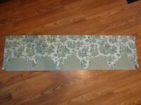 """WAVERLY IVORY GREEN TOILE & CHECK LAYERED VALANCE 52X14"""" COTTON PERFECT"""