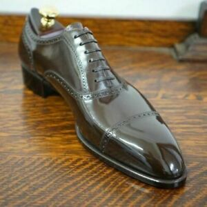 New Handmade Men's Genuine Brown Leather Oxford Cap Toe Lace up Shoes
