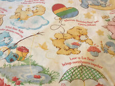 Vintage Care Bears Full Bedding Set Fabric American Greetings Rainbow 1980's USA