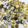 100pcs Silver/Bronze/Gold Plastic Buttons 12mm Sewing Craft 4 Holes PT290