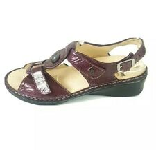 Finn Comfort Germany Ladies Burgundy Red Leather Wedge Sandals UK Size 7 D