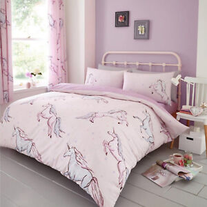 Unicorn Luxury Double Duvet Cover Quilt Cover Bedding Set Pink With Pillow Cases