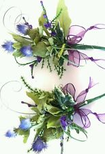 2 Thistle buttonholes fern Ivy Heather . purple ribbon.Man or lady. X 2   &  pin