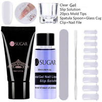 Clear Nail Poly Building Gel Slip Solution Mold File Spatula Stick Extension