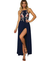 New Elegant Navy Backless Maxi Dress Floor Length Chiffon Evening Formal 8 10 12