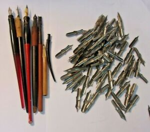 At Least 80 No 8 Fountain Pen Nibs (Marjax)  and 5 Pens (1 Esterbrook)