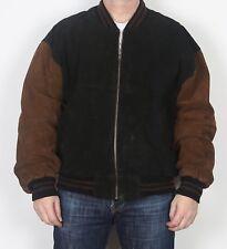 """Chaqueta de abrigo de la Universidad Varsity Gamuza Bomber Harrington XL 44"""" 46"""" Marrón años 90 (K3C)"""