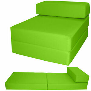 Cotton Twill Z Bed Single Fold Out ChairBed Chair Foam Folding Guest Sofa LIME