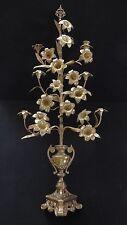 Vintage Detailed Brass Floral Candelabra. 14 Flowers. 6 Candle Holders. 1950.