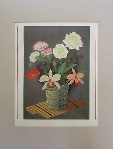 VTG B. Ohno Japanese Orchid Floral Woodblock Print