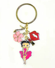 Betty Boop Key Chain Keychain Marilyn Monroe Stance Pink Dress Lips Kiss Pinup