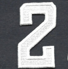 """NUMBERS - White Number """"2"""" (1 7/8"""") - Iron On Embroidered Applique/Numbers"""