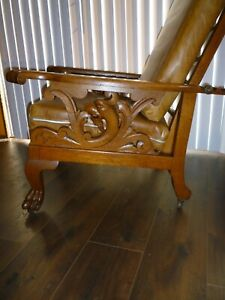 Antique Morris Chair Carved Dragons with Lion Paw Feet Leather Cushions