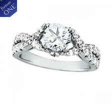2.05 CT FOREVER ONE MOISSANITE ROUND MICRO PAVE CROSS BAND BEZEL ENGAGEMENT RING