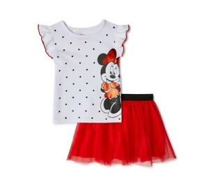 Disney Minnie Mouse Size 5T 2 Piece Outfit With Red Tutu Skirt