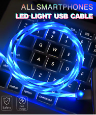 LED Light Visible Flow USB Charger Charging Cable Cord iPhone Samsung Android