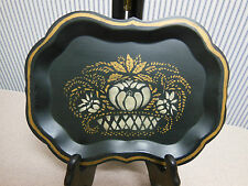 VINTAGE Toleware Tole Tray Small Scalloped Hand Painted Dated 1958