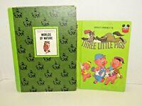 Vintage Set Of 2 Walt Disney Books '72 Three Little Pigs & '65 Worlds Of Nature