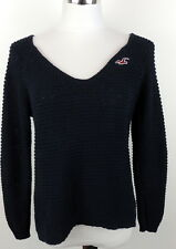 Hollister Womens L Navy Blue Sweater V Neck Slouch Long Sleeve Style