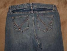 Venezia Size 1 Petite Yellow Square Stretch Flare Dark Blue Stretch Denim Jeans