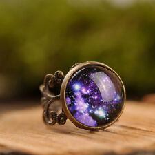 Galaxy ring, adjustable handmade nebula statement ring, brass filigree ring