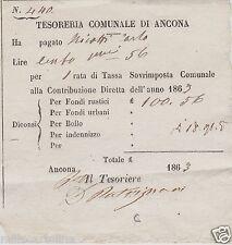 # ANCONA: BIGLIETTO tesoreria comunale - ricevuta  del 1863