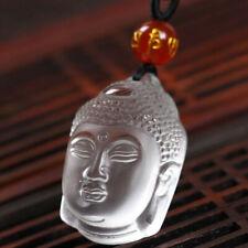 AMULETTE  CRISTAL NATUREL Tête de Bouddha Quartz Blanc Pur