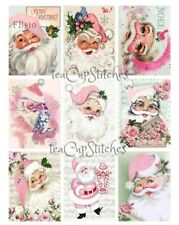 Pink Santa~Roses~9 Li'L Christmas FABRIC BLOCKS~Cat~Bird~Shabby Cottage Chic~410