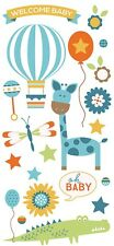 Scrapbooking Crafts Puffy Stickers Paper House Welcome Baby Boy Balloon Giraffe