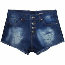 Womens Denim Blue Shorts High Waisted Ladies Girls Jeans Ripped Summer Hot Pants Blue Wash 36
