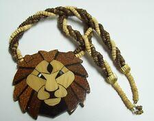BIG LION HEAD Lucite & Wood Bead Necklace