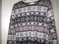 Women's Gray/Black Geometric Print Hi-Low Tunic, Plus Sizes 1X - 3X, NWT