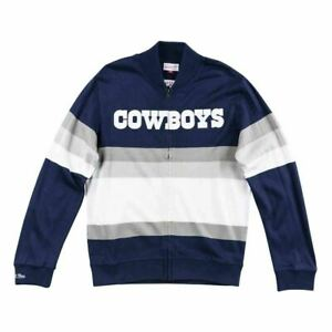 Mens Mitchell & Ness NFL Front Stripe Full Zip Sweater Dallas Cowboys