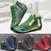 Casual Women's Flat Leather Retro Lace-up Boots Side Zipper Round Toe Shoe Boots