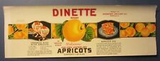 Old Vintage 1930's DINETTE Apricots Can LABEL - Webster Grocer - Danville ILL.