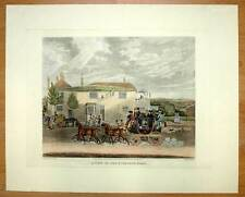 Lithographie equestre CALECHE ATTELAGE cheval chevaux
